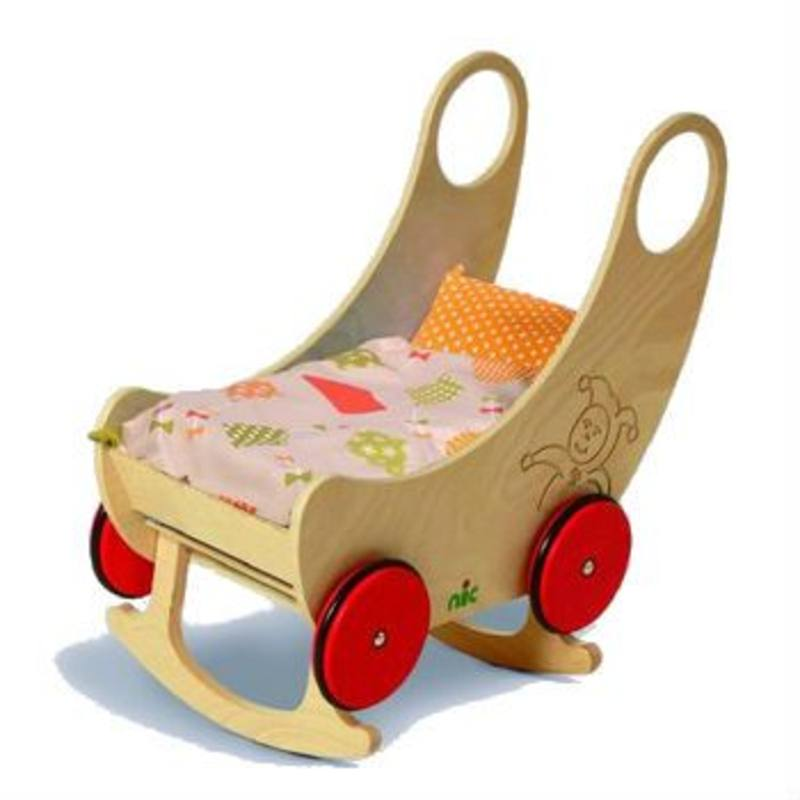 Childrens Convertible Wooden Cradle and Pram - Natural 60x38x60cm