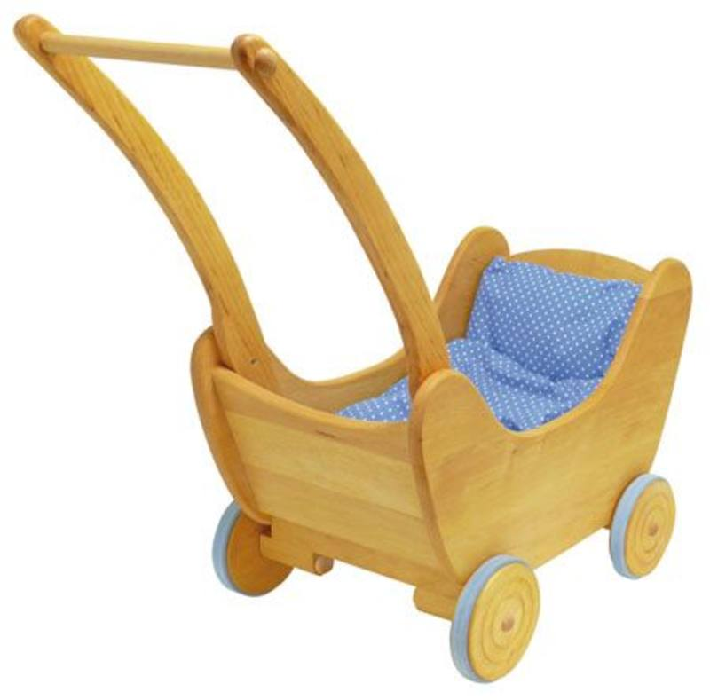Gluckskafer Childrens Wooden Push Walker / Doll Pram - large inc bedding