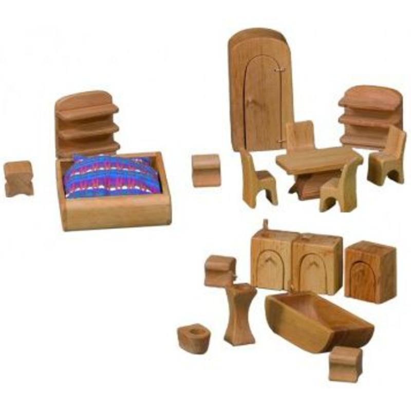 Verneuer Wooden Doll House Furniture 19 pcs