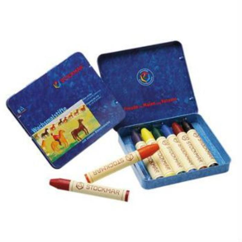 Stockmar Wax Crayons w Pure Beeswax 8 Sticks in Tin w Black