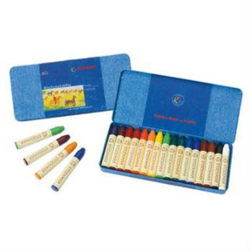 Stockmar Wax Crayons w Pure Beeswax 16 Sticks in Tin
