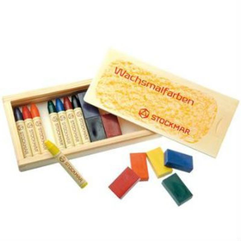 Stockmar Wax Crayons w Pure Beeswax 8 blocks + 8 sticks in Wooden Box