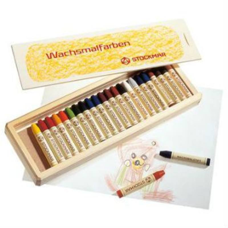 Stockmar Wax Crayons w Pure Beeswax 24 Sticks In Wooden Box