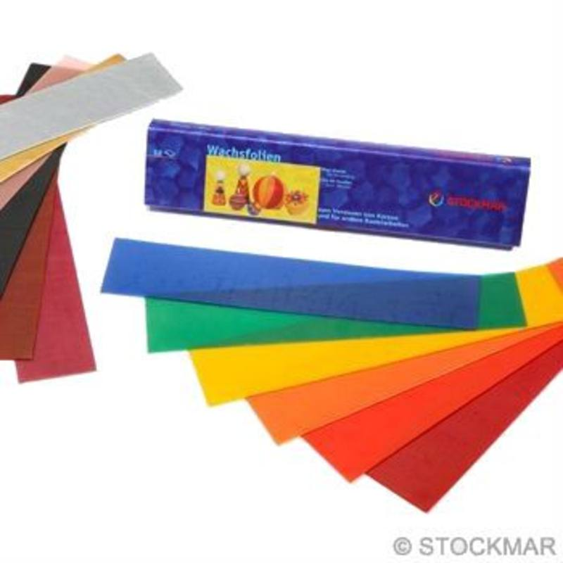 Stockmar Decorating Wax Sheets 12 Ass Colours Small 4x20cm