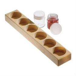 Buy Wooden holder for 6 glass 100ml paint jars  (holes 5cm) in AU Australia.