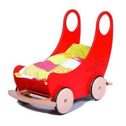 Buy Childrens Convertible Wooden Cradle and Pram - Red 60 x 38 x 60cm in AU Australia.