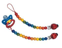 Buy Wooden dummy chain with ladybird clip - Rainbow in AU Australia.