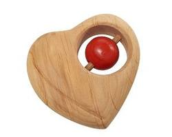 Buy Wooden Heart Rattle with Red Ball in AU Australia.