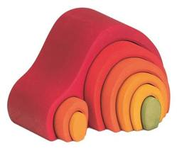 Buy Gluckskafer Wooden Blocks - Arch House Red 8 pcs 19cm wide 12cm high in AU Australia.