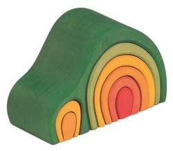 Buy Gluckskafer Wooden Blocks - Arch House Green 8 pcs 19cm wide 12cm high in AU Australia.