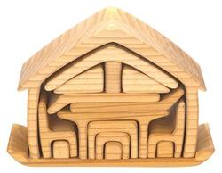Buy Wooden Puzzle Blocks - All-in house natural 17 pieces 22x7x15cm in AU Australia.