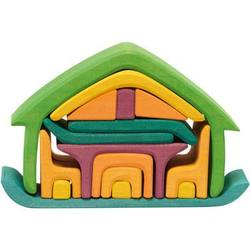 Buy Wooden Puzzle Blocks - All-in house green 17 pieces 22x7x15cm in AU Australia.