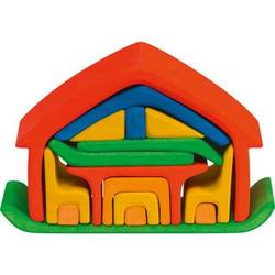 Buy Wooden Puzzle Blocks - All-in house red 17 pieces 22x7x15cm in AU Australia.