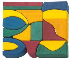 Buy Gluckskafer Wooden Blocks 17 pcs coloured big 6cm wide in AU Australia.