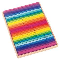 Buy Building slats in wooden box rainbow cols 64 parts in AU Australia.