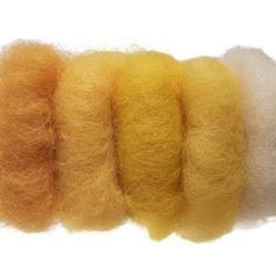 Buy Plant Dyed Wool Fleece Mixed Yellow Tones 50g - DUE MAY in AU Australia.