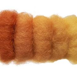 Buy Plant Dyed Wool Fleece Mixed Orange Tones 50g - DUE MAY in AU Australia.