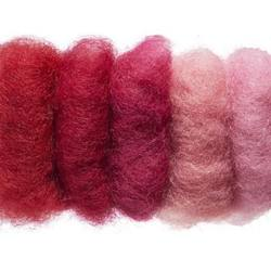 Buy Plant Dyed Wool Fleece Mixed Red Tones 50g - DUE MAY in AU Australia.