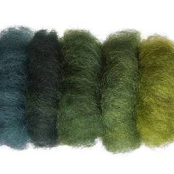 Buy Plant Dyed Wool Fleece Mixed Green Tones 50g - DUE MAY in AU Australia.
