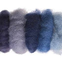 Buy Plant Dyed Wool Fleece Mixed Blue Tones 50g - DUE MAY in AU Australia.