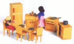 Buy Drei Blatter Wooden Doll House Furniture - Kitchen + Diningroom Set 9pcs in AU Australia.