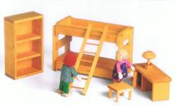 Buy Drei Blatter Wooden Doll House Furniture - Children's Bunk Bedroom Set 6pcs in AU Australia.