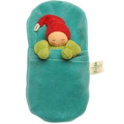 Buy Nanchen Organic Sleeping Doll Red/Green in Turquoise Velveteen Sleeping Bag 21cm SPECIAL ORDER in AU Australia.