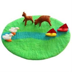 Buy Felted Wool Playmat - Reversible Green Meadow with Blue River in AU Australia.