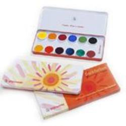 Buy Stockmar Watercolour Paint Set in Tin - 12 Opaque Colours Opaque White Brush + Mixing Palette in AU Australia.